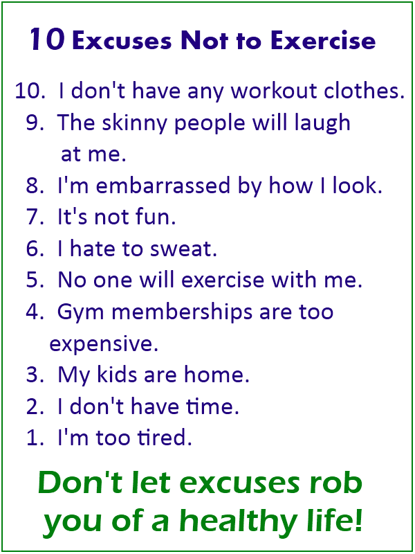 10 Excuses Not to Exercise